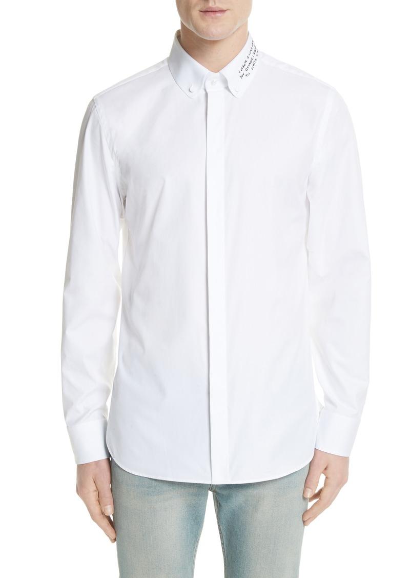 612bf4cf8f4 Gucci Gucci Love Poem Embroidered Collar Button-Down Shirt