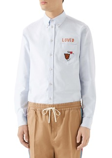 Gucci Loved Embroidered Boxy Oxford Shirt