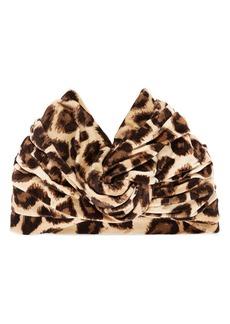Gucci Lucileo Leopard Velvet Turban Headband