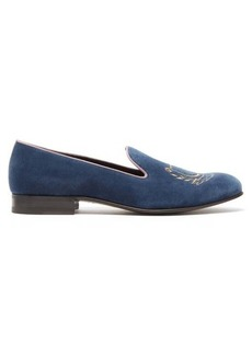 Gucci Lyre-embroidered velvet loafers