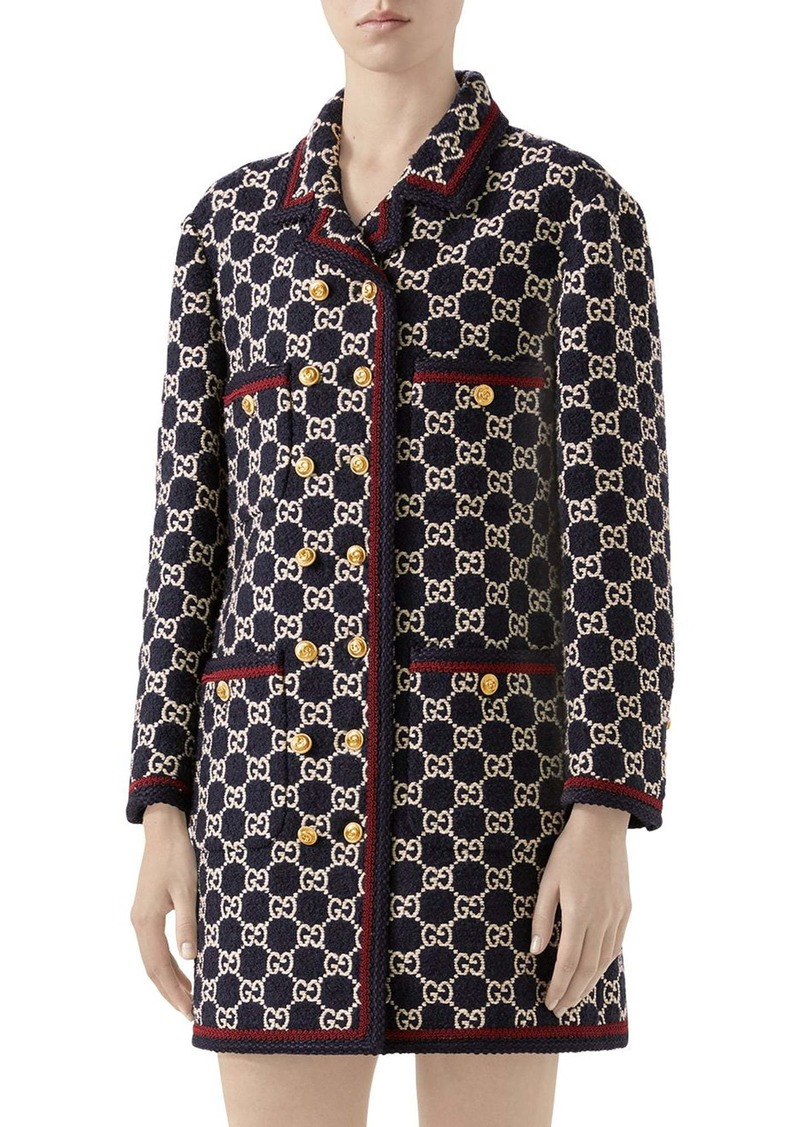 Gucci Macro GG Tweed Knit Double Breasted Coat