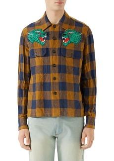 Gucci Macro Gingham Panther Appliqué Linen Shirt Jacket