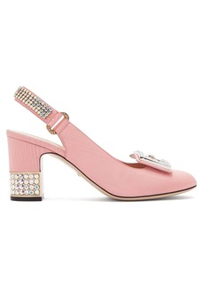 Gucci Madelyn crystal-embellished silk-moire pumps
