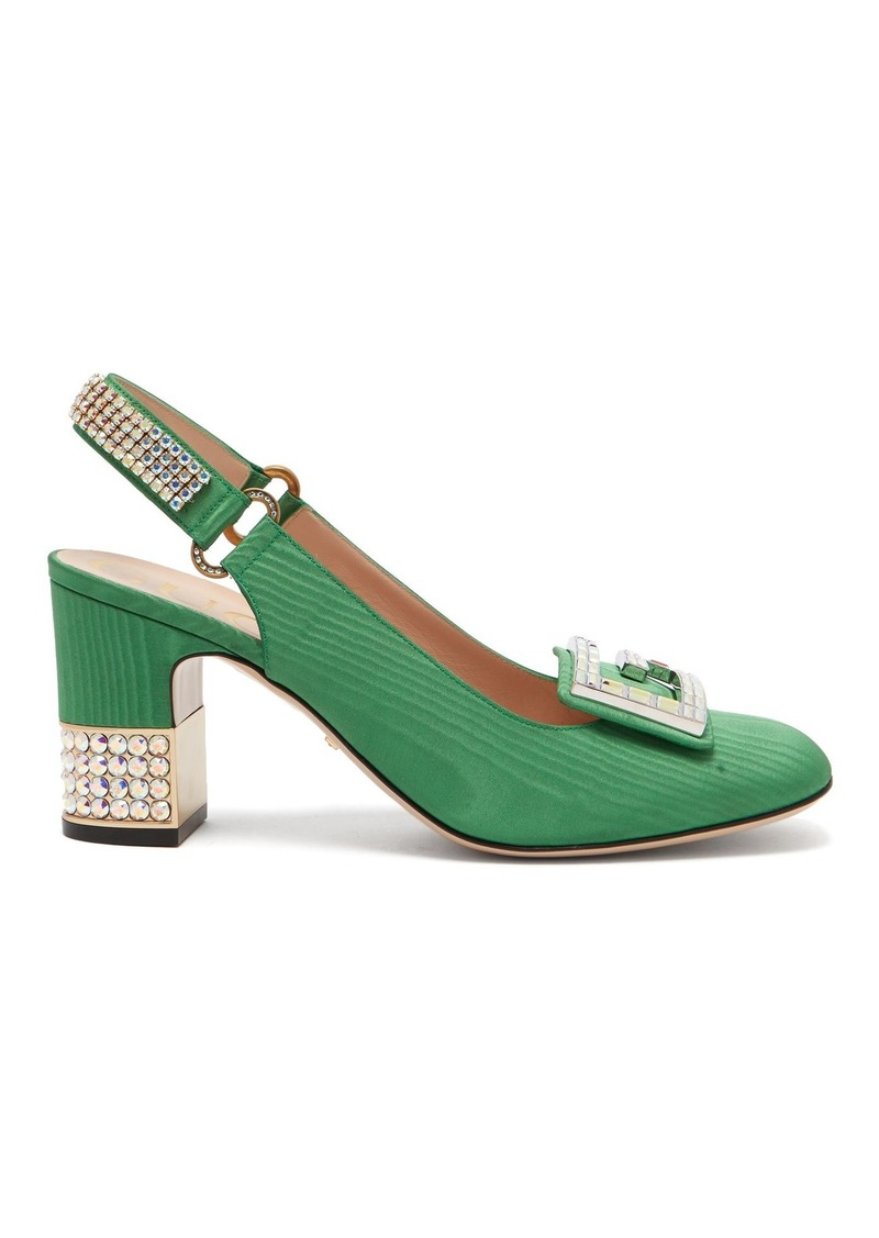 cfbfa6b5be7 Gucci Gucci Madelyn crystal-embellished moiré slingback pumps