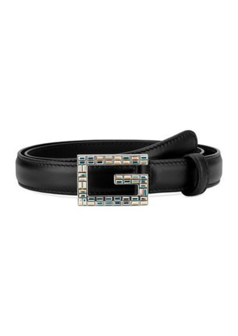 Gucci Madelyn Leather Belt w/ Square Crystal Trim G Buckle