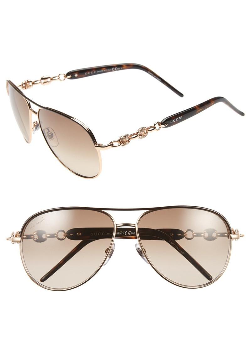 Gucci 'Marina Chain' 58mm Aviator Sunglasses