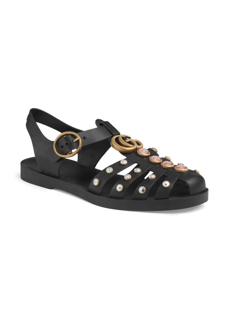 536628302 Gucci Gucci Marmont Crystal Embellished Fisherman Sandal (Women)