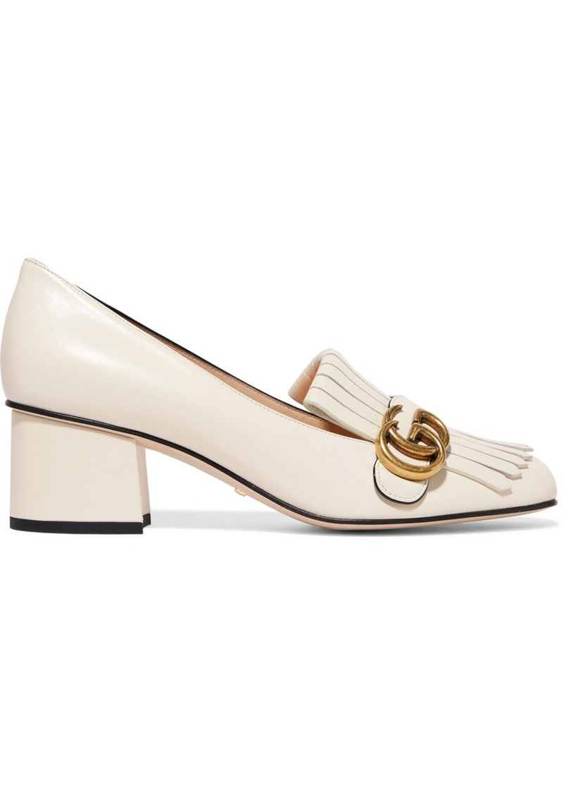 e4680adc56bf5 Gucci Marmont Fringed Logo-embellished Leather Pumps