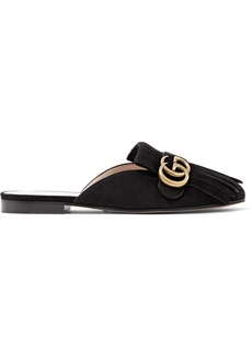 Gucci Marmont fringed suede slippers