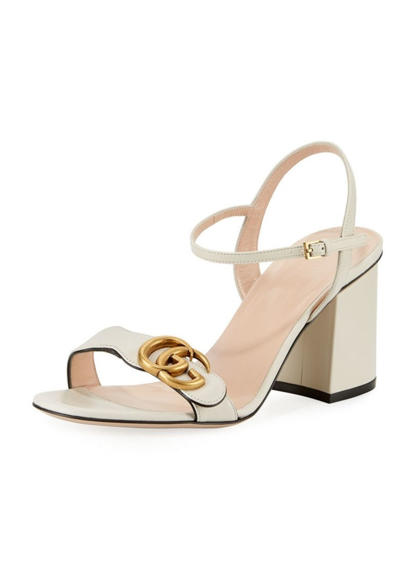 141529ee20764 Gucci Gucci Marmont Leather GG Block-Heel Sandals   Shoes