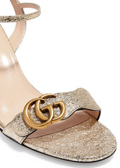 26b293d71cb ... Gucci Marmont logo-embellished metallic cracked-leather sandals