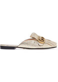 Gucci Marmont metallic cracked-leather slippers