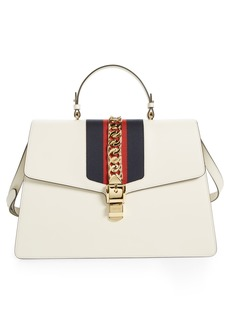 Gucci Maxi Sylvie Top Handle Leather Shoulder Bag