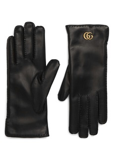 Gucci Maya Double-G Leather Gloves