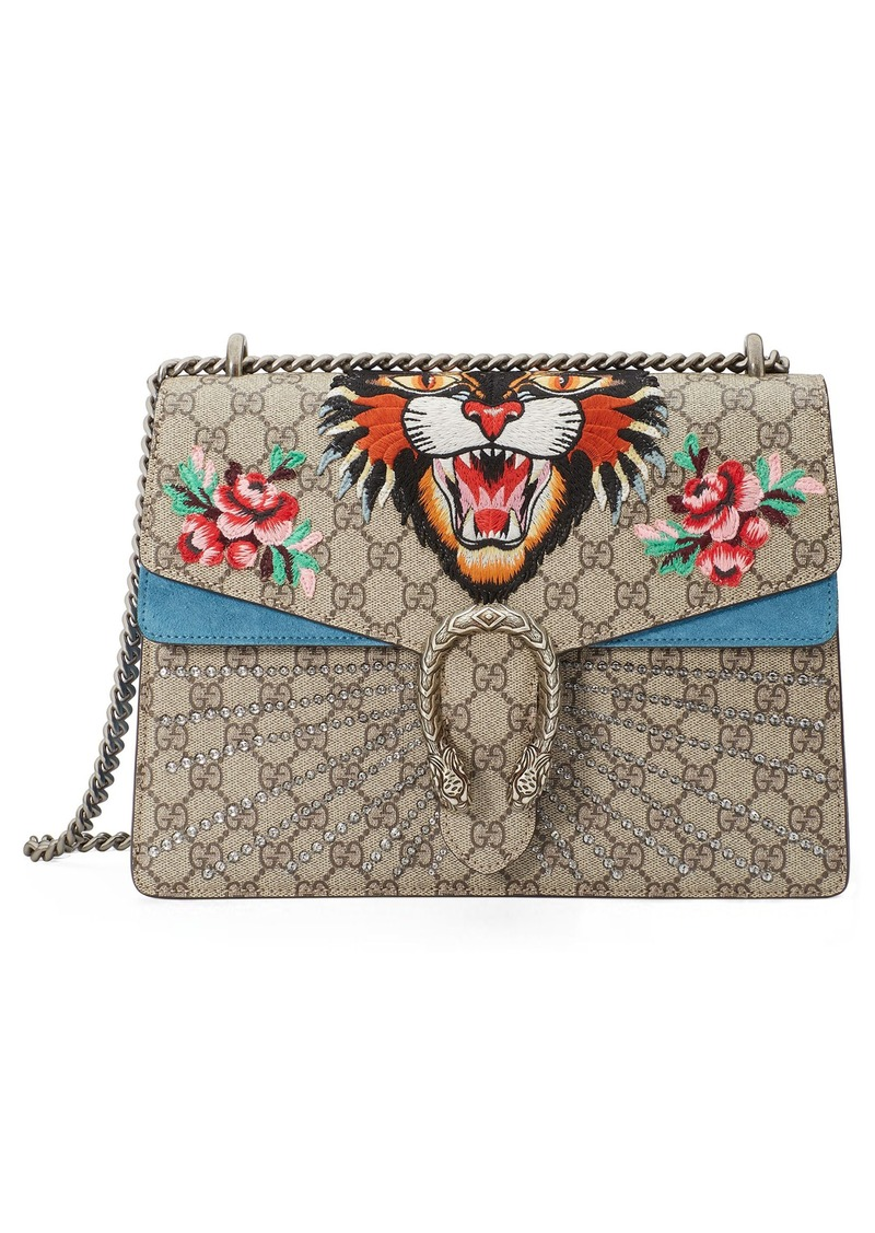 c12f62ce107 Gucci Gucci Medium Angry Cat GG Supreme Canvas   Suede Shoulder Bag ...