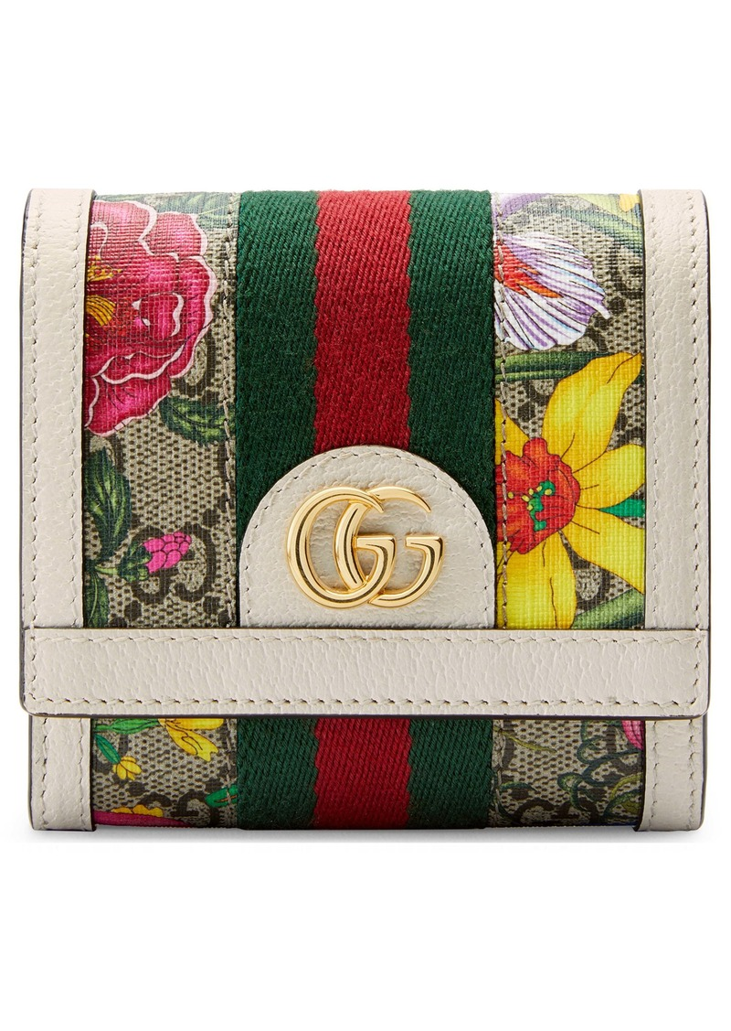 Gucci Medium Ophidia Floral GG Supreme Canvas Wallet