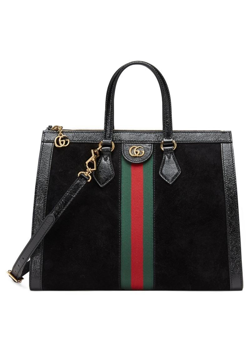 dd22fa14e15 Gucci Gucci Medium Ophidia House Web Suede Satchel