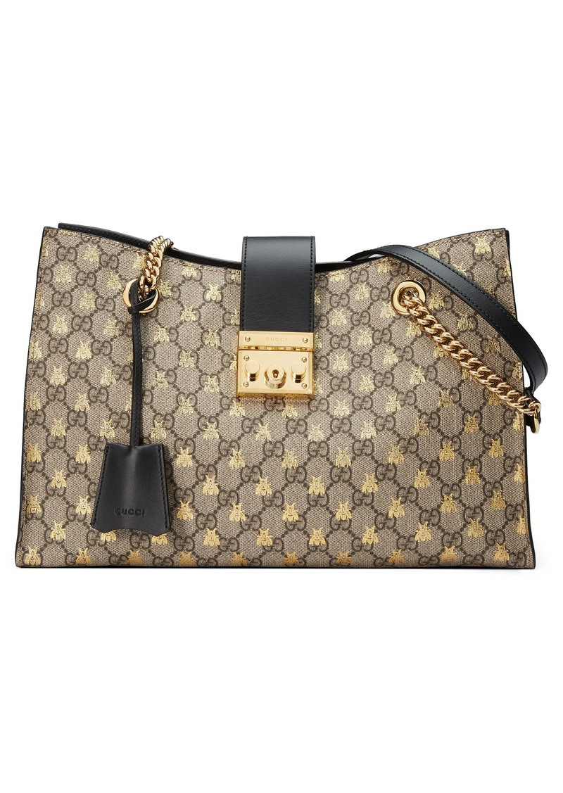 96df047fed93c7 Gucci Gucci Medium Padlock GG Supreme Bee Tote | Handbags