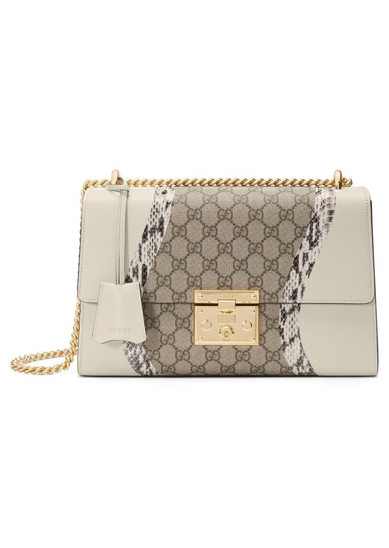 5906fee94 Gucci Medium Padlock GG Supreme Wave Shoulder Bag with Genuine Snakeskin  Trim
