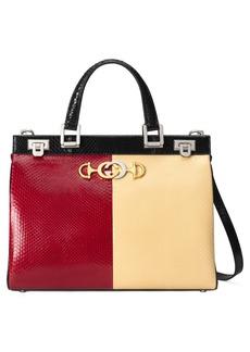 Gucci Medium Zumi Bicolor Genuine Snakeskin Top Handle Leather Bag