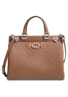 Gucci Medium Zumi Top Handle Ostrich Leather Bag