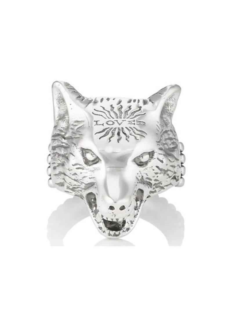8eb453df5 Gucci Gucci Men's Anger Forest Wolf-Head Ring - Silver | Misc ...