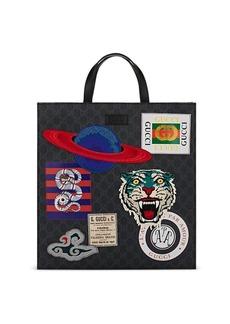 Gucci Men's Appliquéd GG Supreme Shopper Tote Bag - Black