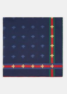 Gucci Men's Bee-Print Silk Twill Pocket Square - Navy