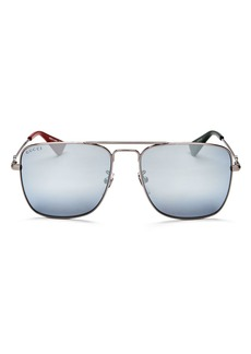 Gucci Men's Caravan Mirrored Brow Bar Square Sunglasses, 55mm