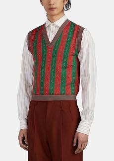 Gucci Men's Chain-Link & Web Striped Cotton-Blend Sweater Vest