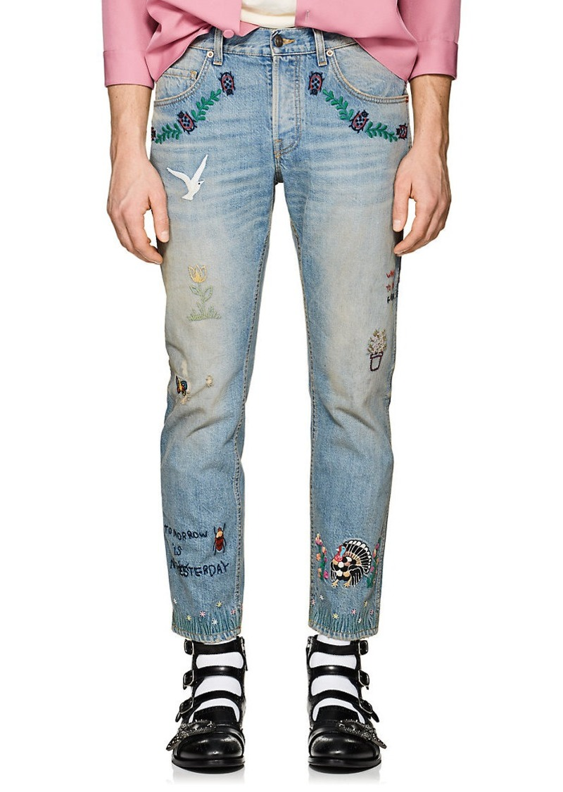 Gucci Gucci Men s Embroidered Distressed Slim Jeans   Jeans 00bbb6dfda7