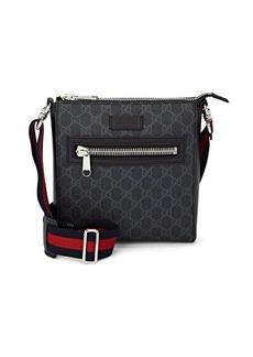 Gucci Men's GG Supreme Leather-Trimmed Messenger Bag - Black