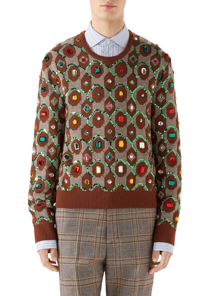 Gucci Men's Jewel-Embellished Jacquard Sweater