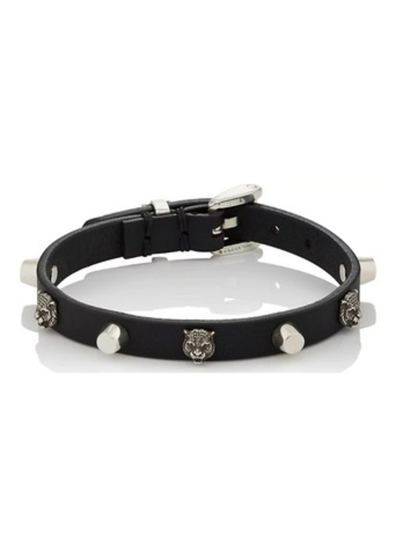 Gucci Men S Leather Silver Buckled Bracelet