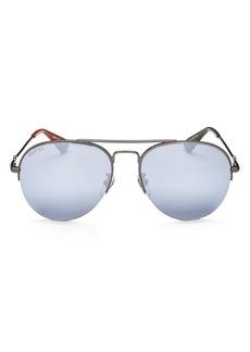 Gucci Men's Mirrored Brow Bar Aviator Sunglasses, 56mm