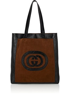 Gucci Men's Ophidia Large Logo Suede Tote Bag - Brown