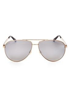Gucci Men's Retro Signature Stripe Mirrored Brow Bar Aviator Sunglasses, 61mm