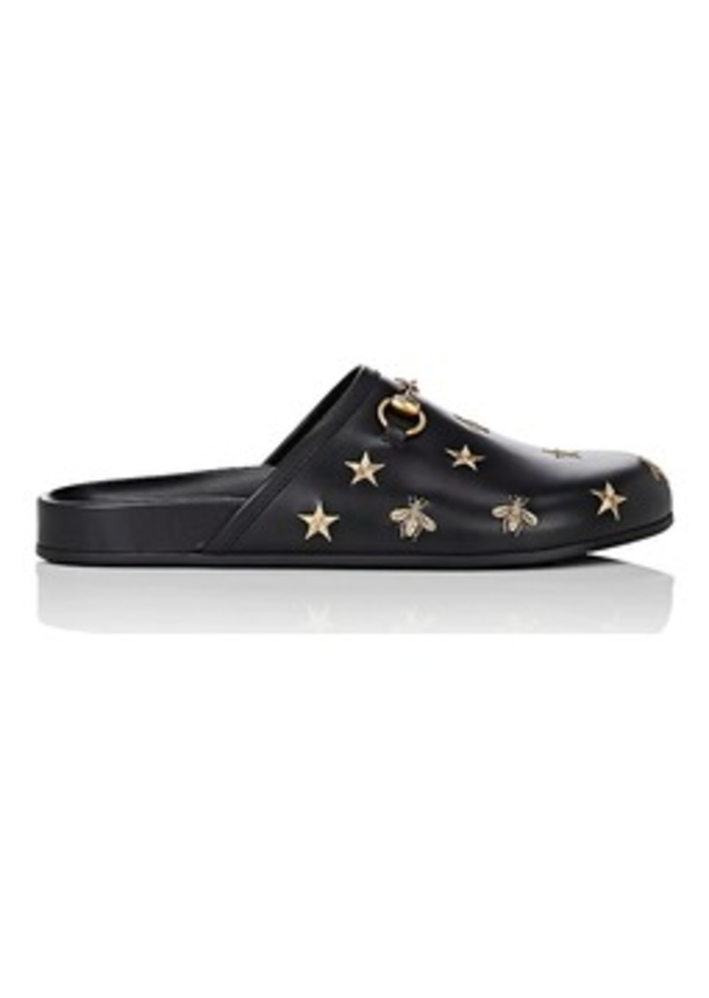50d8197b188 Gucci Gucci Men s River Star-   Bee-Embroidered Leather Mules