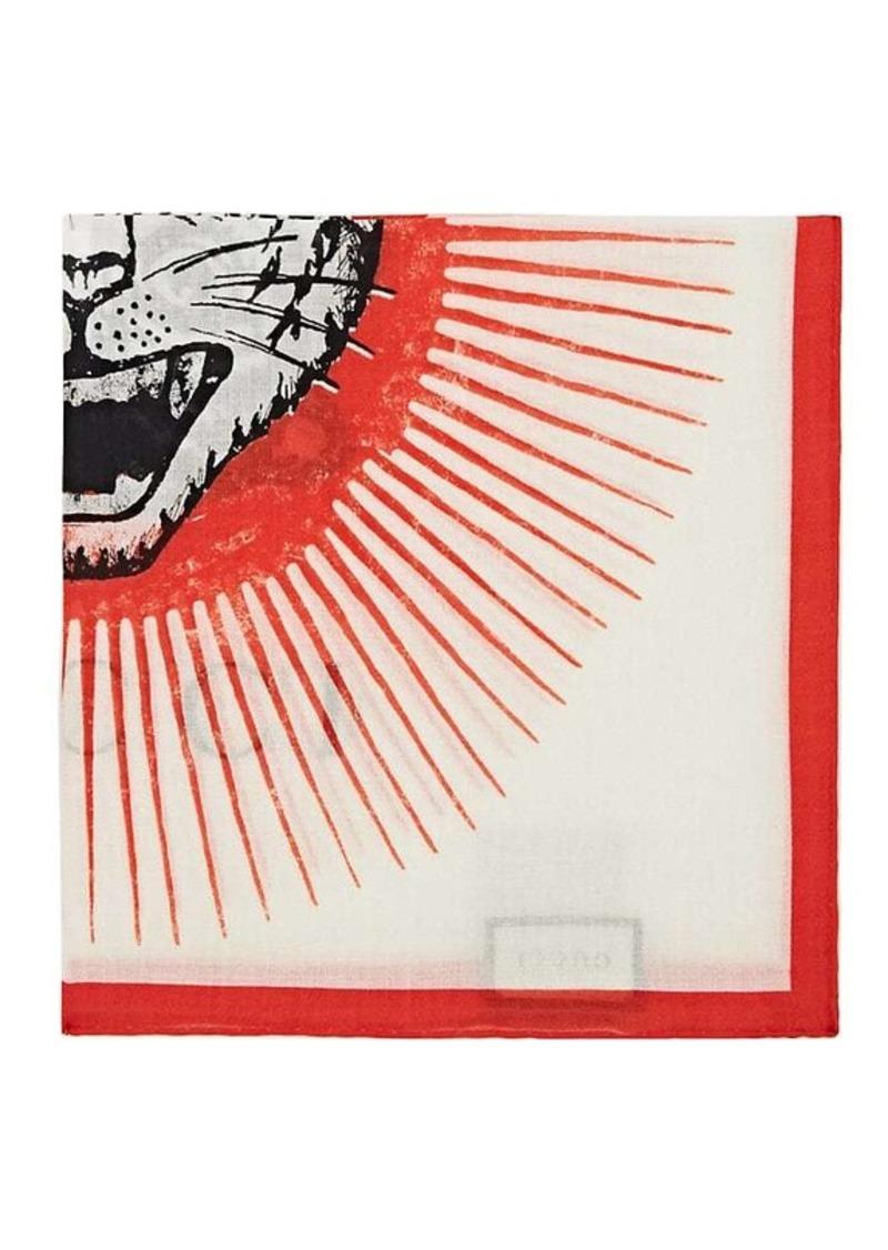 b352b0d98 Gucci Gucci Men's Roaring-Tiger-Graphic Cotton Pocket Square - White ...