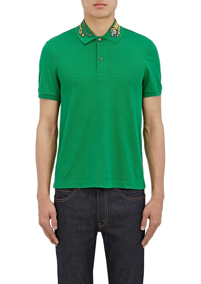 a9278bb623 Gucci Gucci Men's Tiger-Embroidered Cotton-Blend Polo Shirt | Casual ...