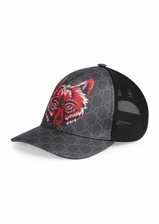 Gucci Men's Wolf Head GG-Supreme Baseball Cap