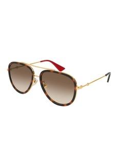 Gucci Metal Gradient Aviator Sunglasses  Gold/Brown