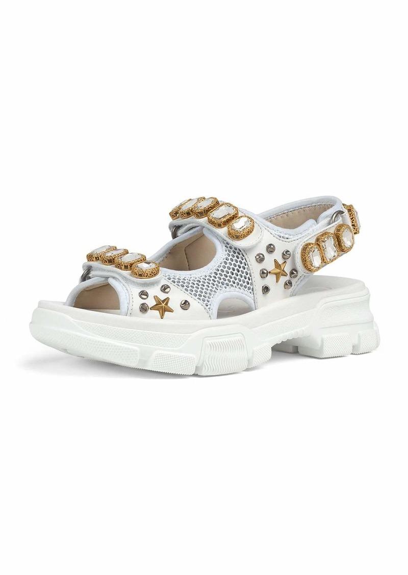 86a72adea6c6 Gucci Gucci Metallic and Mesh Embellished Sandals w  Crystals