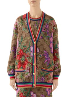 Gucci Metallic Floral Double G Wool Cardigan