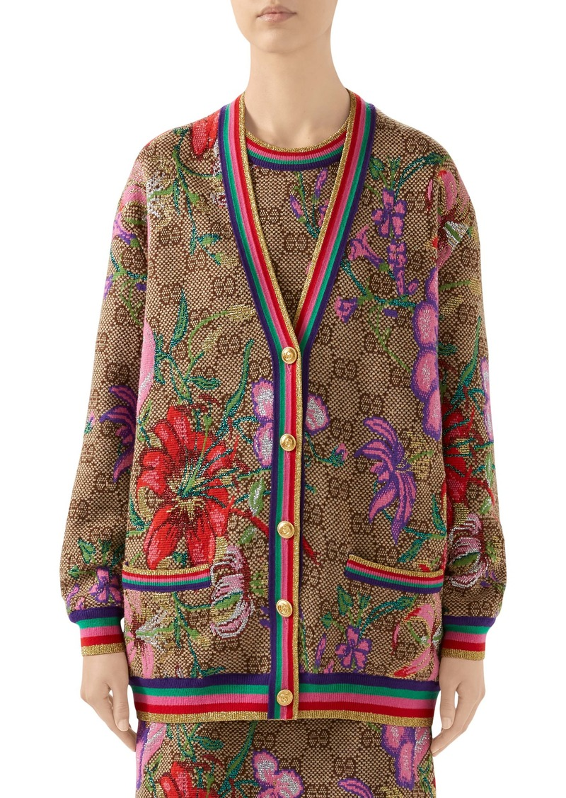 Gucci Metallic Floral Double G Wool Blend Cardigan