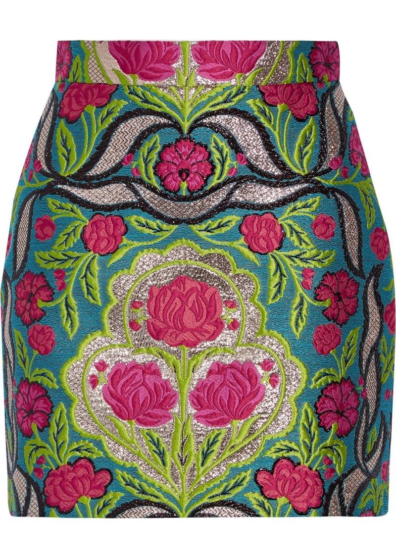 Gucci Metallic floral-jacquard mini skirt  eb01e32102
