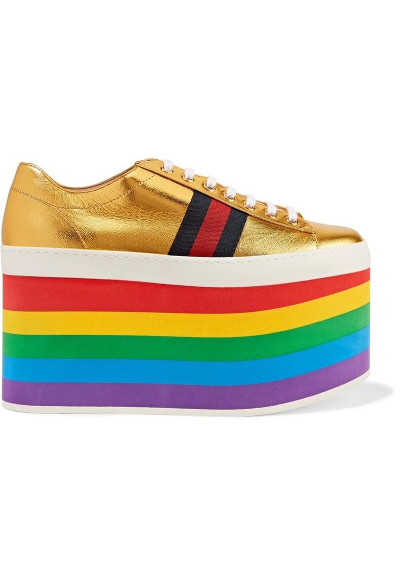 ec89cd30803 Gucci Metallic leather platform sneakers