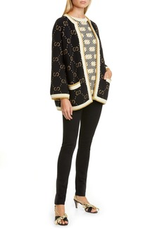 Gucci Metallic Logo Jacquard Wool Blend Sweater