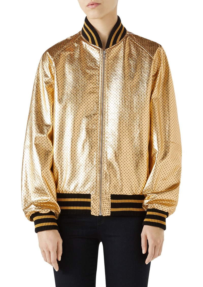 3dc4cb84a Gucci Gucci Metallic Perforated Leather Bomber Jacket | Outerwear
