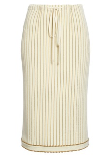 Gucci Metallic Stripe Jacquard Wool Midi Sweater Skirt